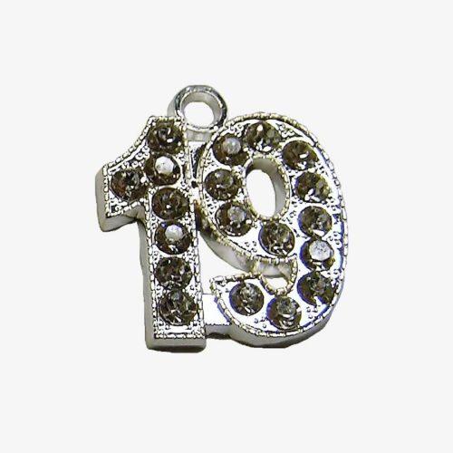 Schoen - numeral rhinestone silver
